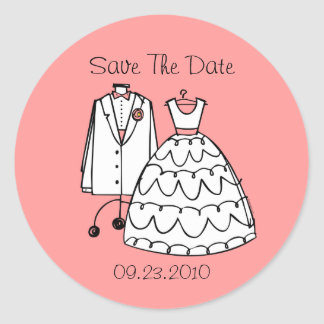 Wedding Dress & Tux Custom Save The Date Stickers