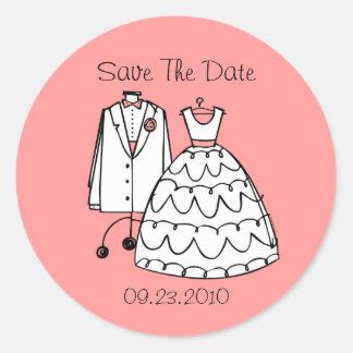 Wedding Dress & Tux Custom Save The Date Stickers