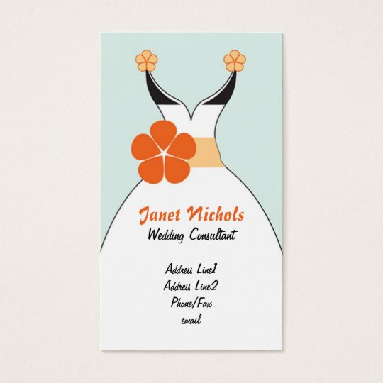 Wedding Dress with Orange Flower2 Business Card