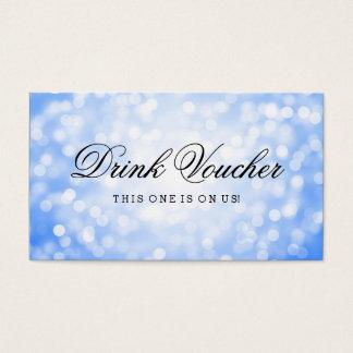 Wedding Drink Voucher Blue Glitter Lights Business Card
