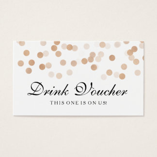 Wedding Drink Voucher Copper Foil Glitter Light Business Card