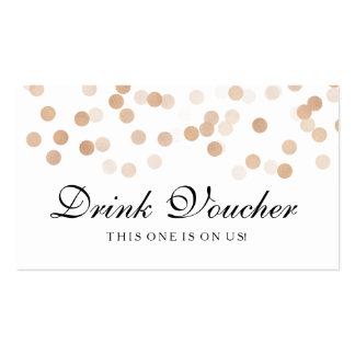 Wedding Drink Voucher Copper Foil Glitter Light Pack Of Standard Business Cards