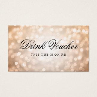 Wedding Drink Voucher Copper Glitter Lights Business Card
