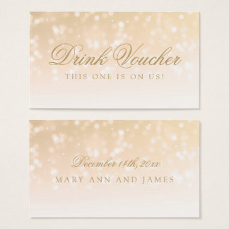 Wedding Drink Voucher Gold Bokeh Sparkle Lights Business Card
