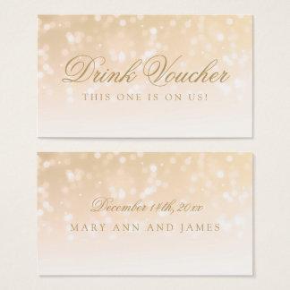 Wedding Drink Voucher Gold Bokeh Sparkle Lights Business Card