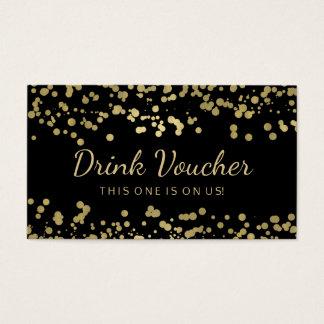 Wedding Drink Voucher Gold Foil Confetti Business Card