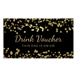 Wedding Drink Voucher Gold Foil Confetti Pack Of Standard Business Cards