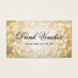 Wedding Drink Voucher Gold Glitter Lights Business Card