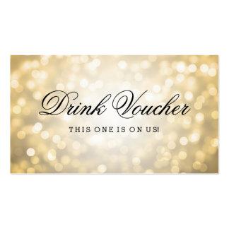 Wedding Drink Voucher Gold Glitter Lights Pack Of Standard Business Cards