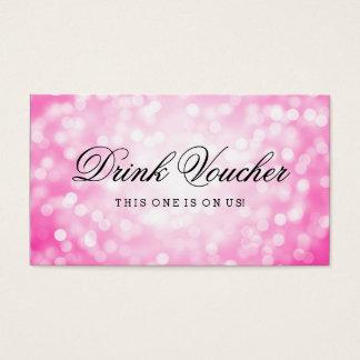 Wedding Drink Voucher Pink Glitter Lights Business Card