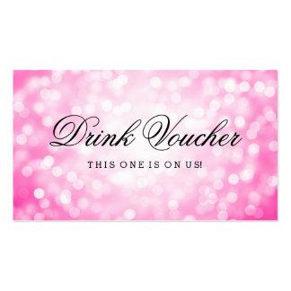 Wedding Drink Voucher Pink Glitter Lights Pack Of Standard Business Cards