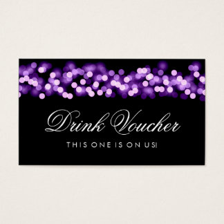 Wedding Drink Voucher Purple Hollywood Glam Business Card