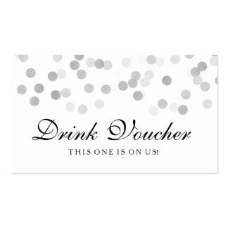 Wedding Drink Voucher Silver Foil Glitter Light Pack Of Standard Business Cards