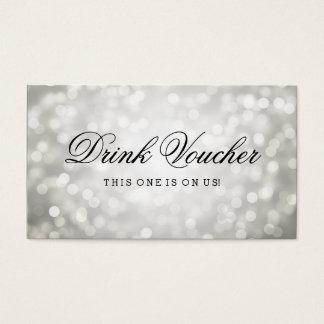 Wedding Drink Voucher Silver Glitter Lights Business Card