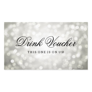 Wedding Drink Voucher Silver Glitter Lights Pack Of Standard Business Cards