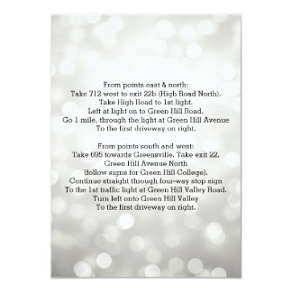 Wedding Driving Directions Silver Glitter Lights 11 Cm X 16 Cm Invitation Card