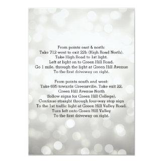 Wedding Driving Directions Silver Glitter Lights 11 Cm X 16 Cm Invitation Card