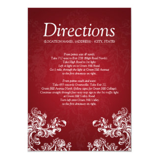 Wedding Driving Directions Vintage Swirls 2 Red 11 Cm X 16 Cm Invitation Card