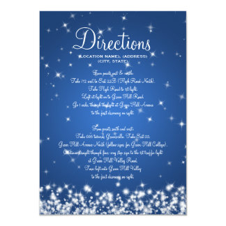 Wedding Driving Directions Winter Sparkle Blue Card