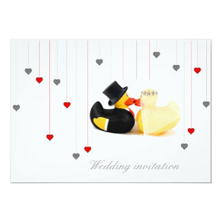 Wedding ducks 3 and two hearts wedding invitation