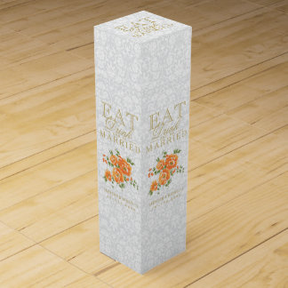 Wedding Eat, Drink and be Married - Orange Flowers Wine Bottle Boxes