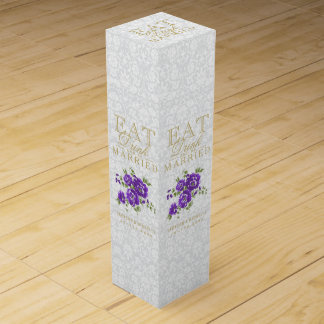 Wedding Eat, Drink and be Married - Purple Flowers Wine Bottle Box