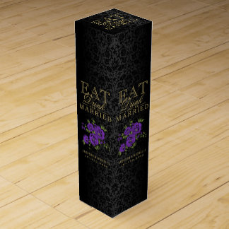 Wedding Eat, Drink and be Married - Purple Flowers Wine Boxes