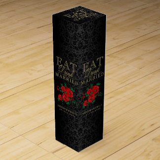 Wedding Eat, Drink and be Married - Red Flowers Wine Gift Box
