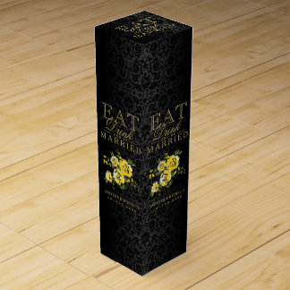 Wedding Eat, Drink and be Married - Yellow Flowers Wine Bottle Boxes