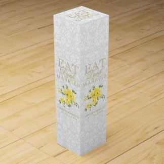 Wedding Eat, Drink and be Married - Yellow Flowers Wine Gift Boxes