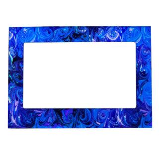 Wedding elegant blue vintage chic pattern magnetic frame