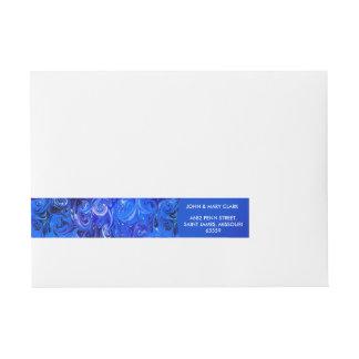 Wedding elegant blue vintage chic pattern wraparound address label