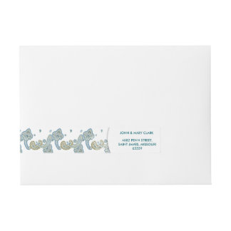 Wedding elegant floral stylish rustic blue pattern wraparound address label