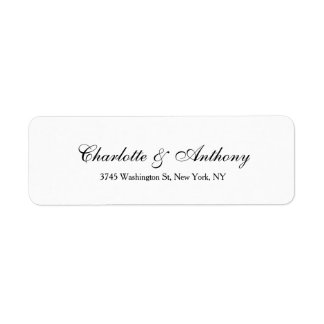 Wedding Elegant Script Creative Black White Return Address Label