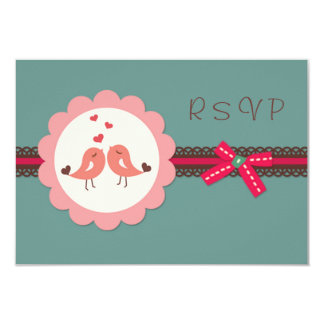 Wedding, Engagement Love birds, heart RSVP Invite