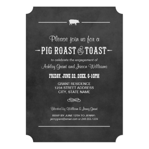 Wedding Engagement Party   Pig Roast & Toast Announcements