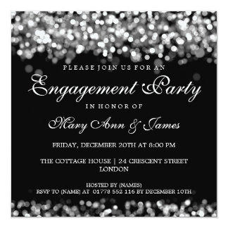 Wedding Engagement Party Silver Lights 13 Cm X 13 Cm Square Invitation Card
