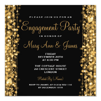 Wedding Engagement Party Sparkles Gold 13 Cm X 13 Cm Square Invitation Card