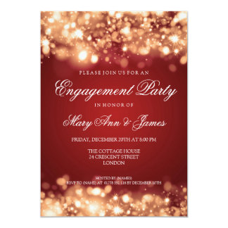 Wedding Engagement Party Sparkling Lights Gold 13 Cm X 18 Cm Invitation Card