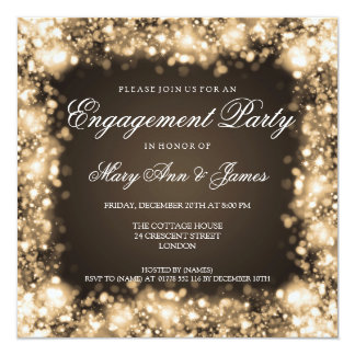 Wedding Engagement Party Sparkling Lights Gold 5.25x5.25 Square Paper Invitation Card