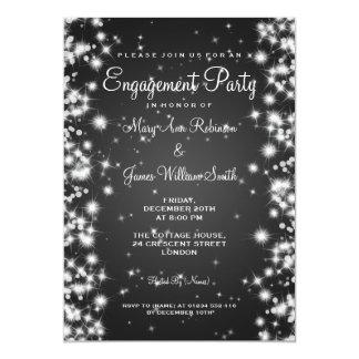 Wedding Engagement Party Winter Sparkle Black 13 Cm X 18 Cm Invitation Card