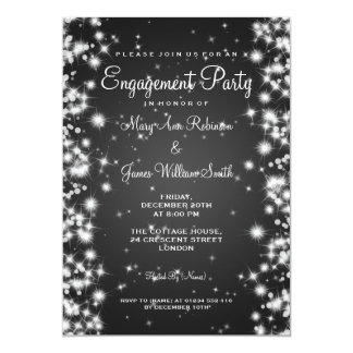 Wedding Engagement Party Winter Sparkle Black Card