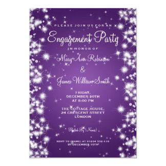 Wedding Engagement Party Winter Sparkle Purple Card