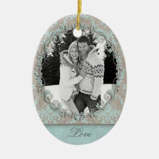 Wedding Engagement Photo Picture Damask Christmas Ornament