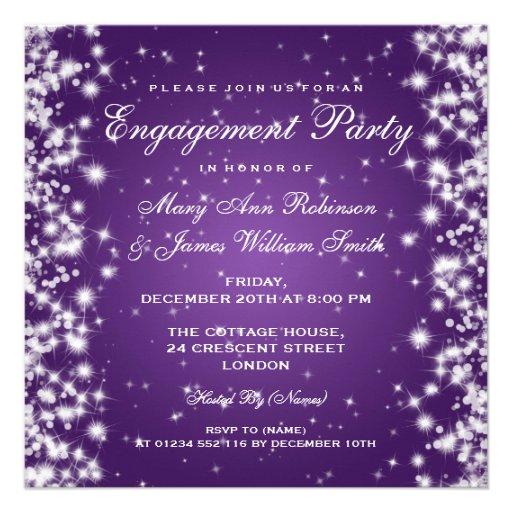 Wedding Engagement Winter Sparkle Purple Custom Announcements