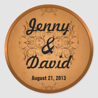 Wedding Envelope Seal (Vintage Copper) Round Sticker