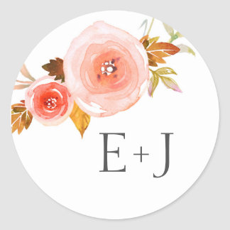 Wedding envelope seals / blush floral watercolor round sticker