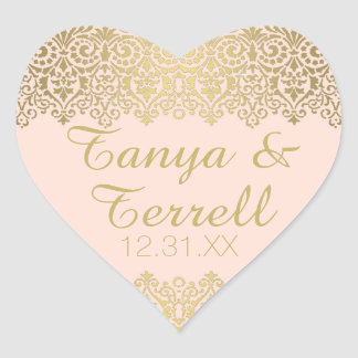 Wedding Envelope Seals Vintage Golden Lace Elegant Heart Sticker