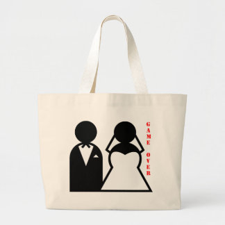 wedding equals game over canvas bag