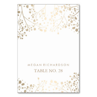 wedding escort cards baby's breath faux gold